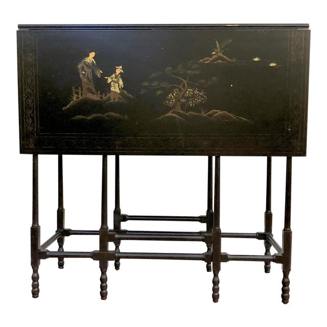 1980s Chinoiserie Baker Furniture Black Lacquer Gate Leg Side Table For Sale
