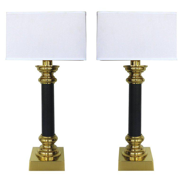 Fine Quality Pair Of Stiffel Brass And Leather Classical Column Table Lamps    Image 11 Of