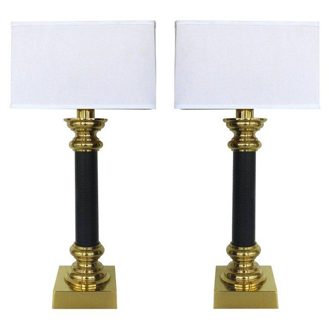 Fine Quality Stiffel Brass and Leather Classical Column Table Lamps - A Pair For Sale - Image 11 of 11