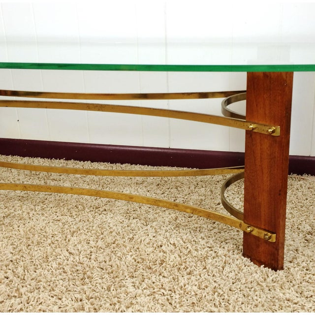 Mid-Century Wood & Glass Coffee & Lighted Side Table - Set of 3 For Sale - Image 6 of 10