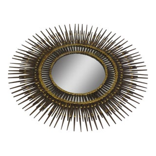 Handmade Mid-Century Modern Brutalist Sunburst Steel & Brass Wall Mirror by BELA For Sale