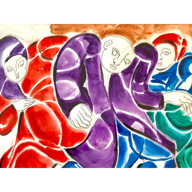 Watercolor Mid-Century Modern Three Figures Painting For Sale - Image 7 of 12
