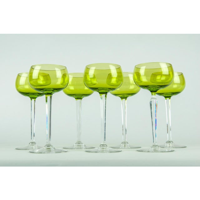 Vintage French crystal lime color barware wine glassware set of 8 pieces with clear cut stem. Each glass is in excellent...
