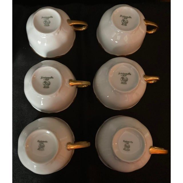 White Hutschenreuter White Porcelain and Gold Cup and Saucers - Set of 6 For Sale - Image 8 of 13