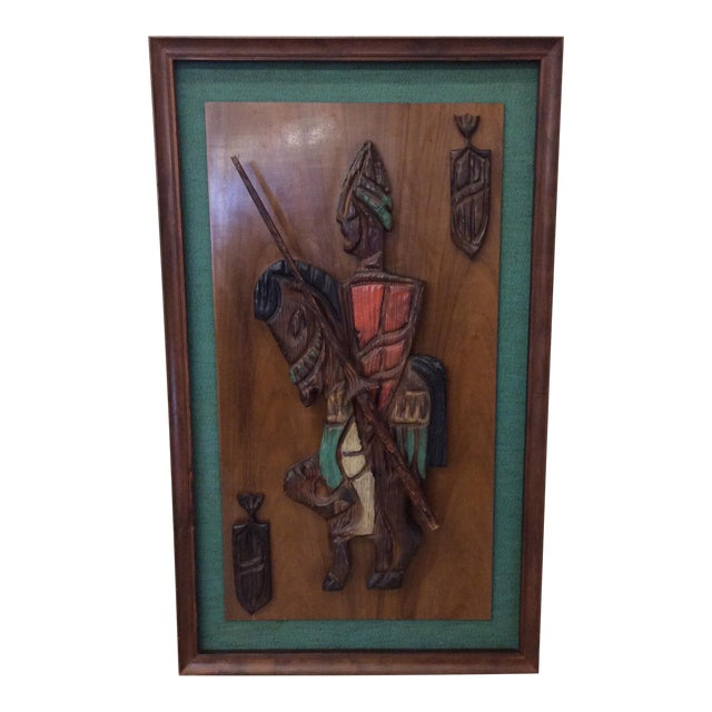 Witco Don Quixote Knight Wood Carved Wall Art For Sale