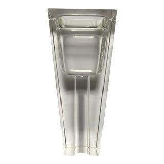 Mid Century Heavy Glass Crystal Cigar Ashtray For Sale