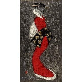 Kaoru Kawano Dancing Figure Wood Block Print