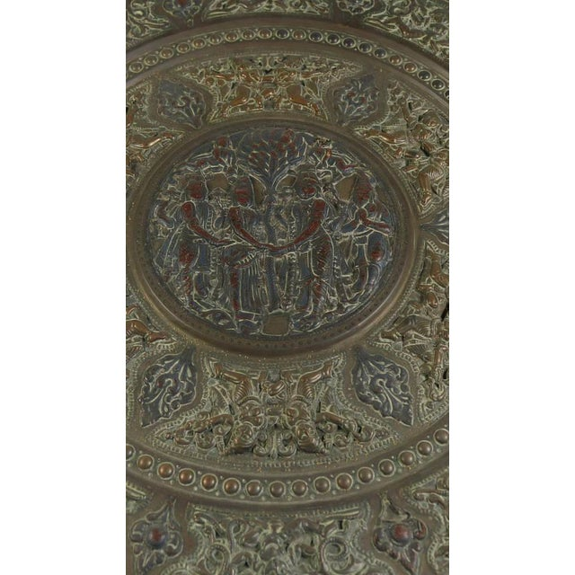 Brass 19th Century Tanjore Brass Plaque #1, South India For Sale - Image 7 of 10