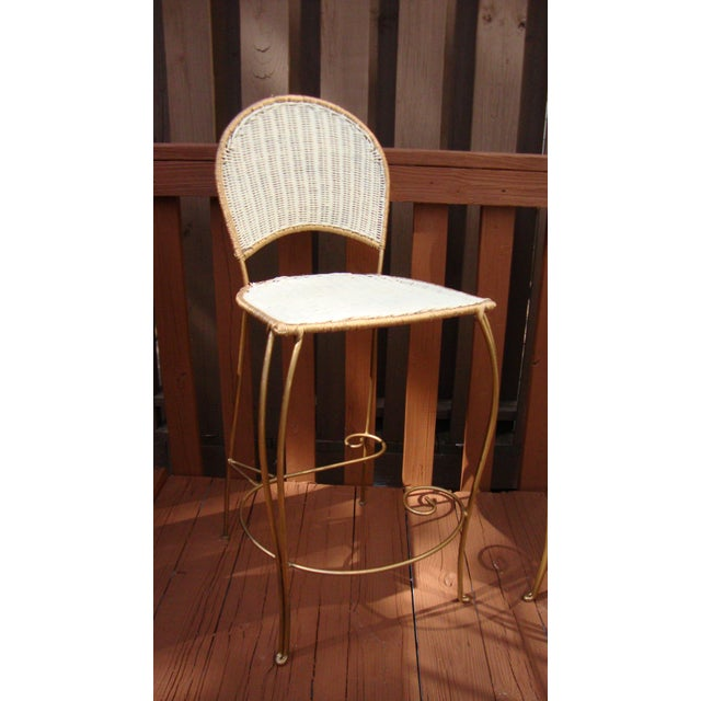 Gilt Wicker Wrought Iron Bar Stools - A Pair - Image 6 of 11
