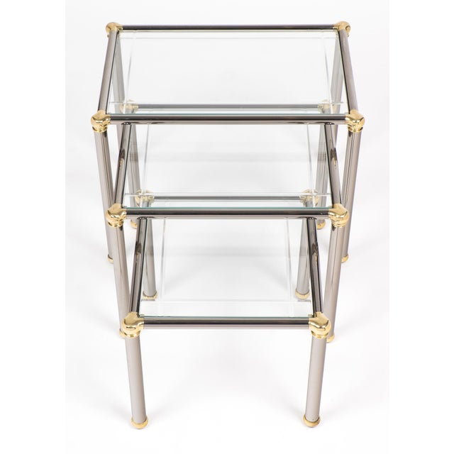 Vintage Set of Gunmetal and Brass Nesting Tables For Sale - Image 4 of 11
