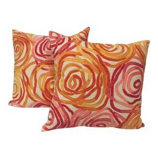 Contemporary Pink Red and Orange Swirl Print Pillows - a Pair For Sale