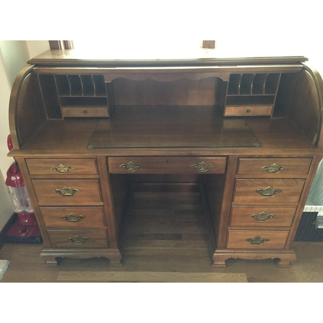 Wooden Roll Top Desk - Image 3 of 3