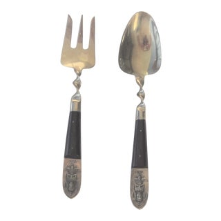 Mid Century Gold Plated Serving Siam Fork and Spoon For Sale