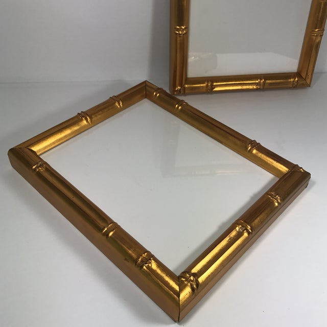 Art Deco Pair of Gold Gilt Bamboo Frames For Sale - Image 3 of 11