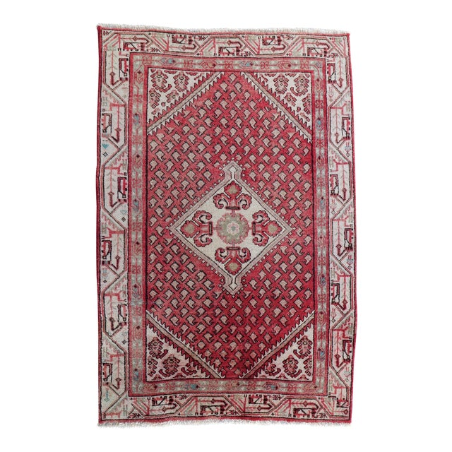 Strawberry & Mint Vintage Persian Rug - 3′3″ × 4′11″ - Image 1 of 5