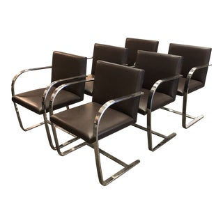 Vintage Brno Flat Bar Knoll Chairs in Espresso Leather - Set of 6 For Sale