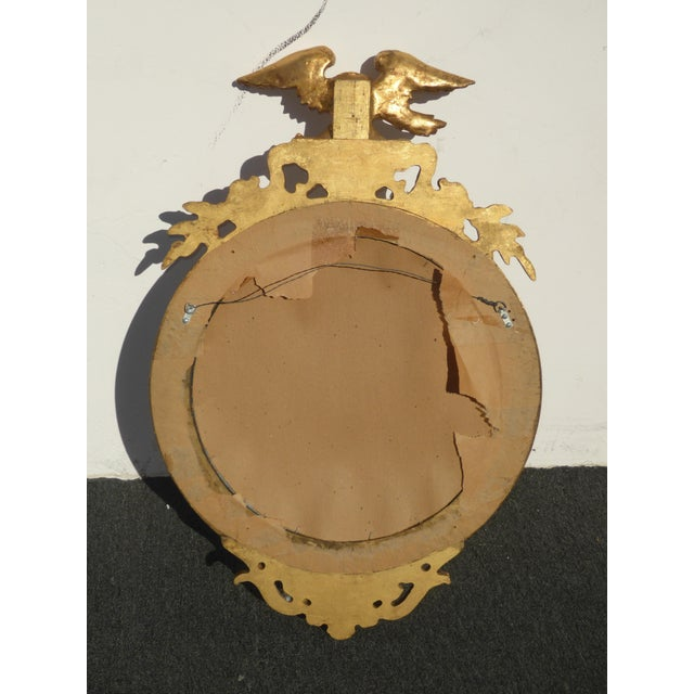 Vintage Federal Eagle Convex Bullseye Gold Wall Mantle Mirror For Sale - Image 10 of 11