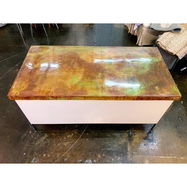 Vintage Allsteel executive tanker desk in original off-white finish with silver/steel legs and drawer pulls. All 6 drawers...
