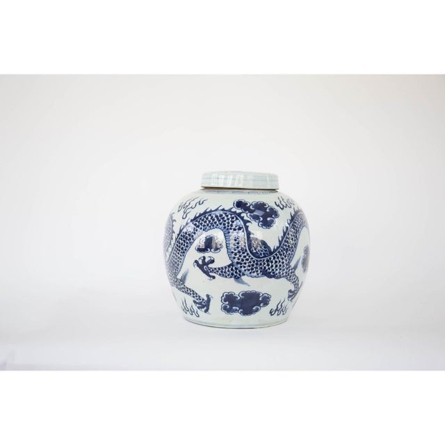 Striking oversize dragon ginger jar has a classic shape and a design that wraps around the entire jar.