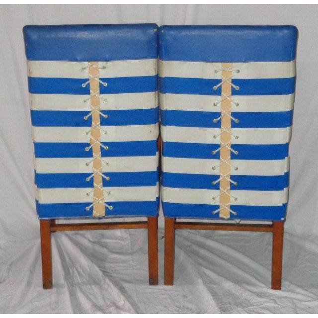 Nautical Themed Leather & Canvas Chairs - Set of 4 - Image 5 of 6