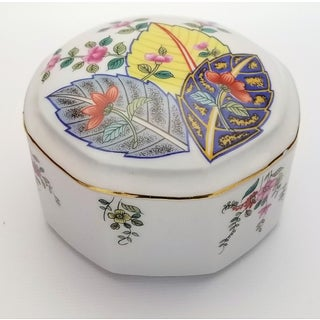 Vintage Japanese Porcelain Tobacco Leaf Trinket Box - Signed Preview