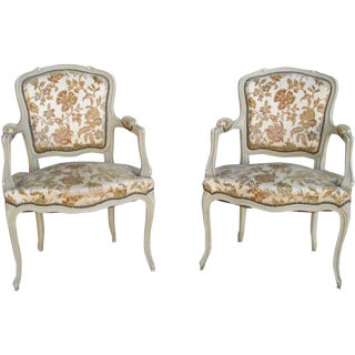 French Painted Chairs Armchairs - A Pair