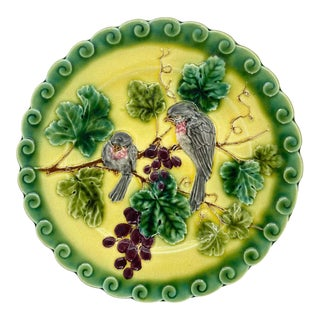 French Majolica Trompe l'Oeil Plate, Pink Sparrows on Yellow Ground, Ca. 1865 For Sale