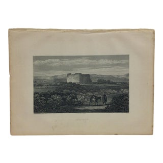 "Antique Original Engraving on Paper ""Jericho"" by J. Cramb Circa 1890 For Sale"