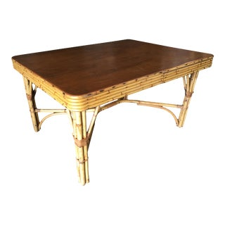 Restored Rectangle Rattan Dining Table with 5-Strand Stacked Mahogany Top For Sale