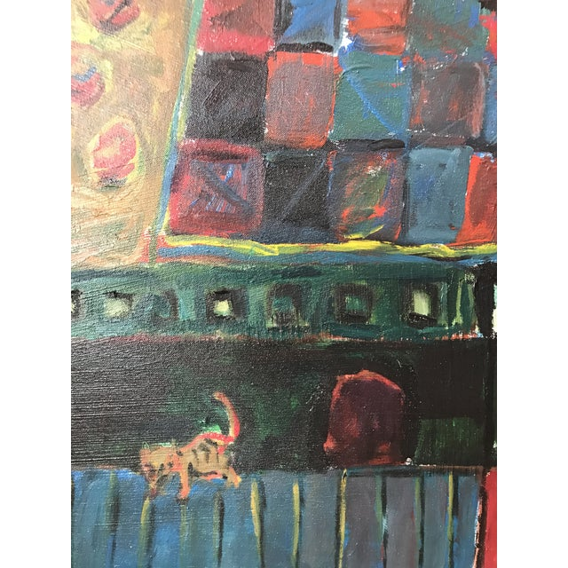 """Canvas Vintage Original Painting Early Work of Paul Rinaldi """"Man Playing Checkers"""" For Sale - Image 7 of 10"""