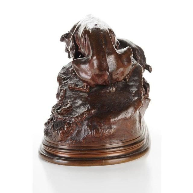 """Pierre-Jules Mene '3 dogs Ferreting"""" Original Bronze Sculpture c.1890s - Image 4 of 11"""