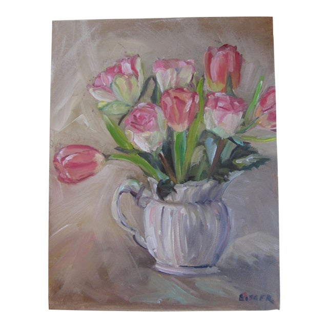 Tulips in a Pitcher Painting For Sale