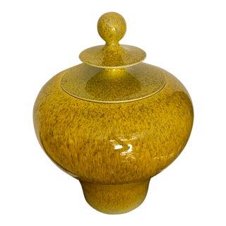 Huge Global Views Yellow & Black Ceramic Temple Jar
