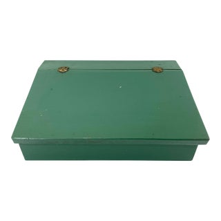 Vintage Green Wooden Lidded Documents Box For Sale