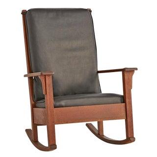 Ladder Back Rocking Chair W/ New Leather Cushions Circa 1910