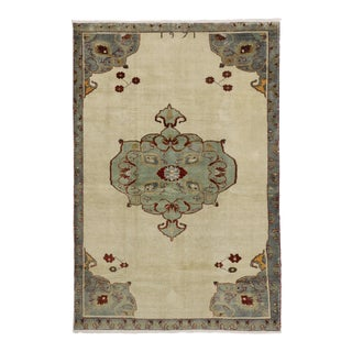 Vintage Turkish Oushak Rug with Modern Traditional Style in Light Colors For Sale