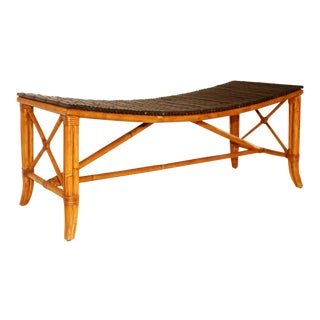 Palacek Bamboo and Leather Bench For Sale