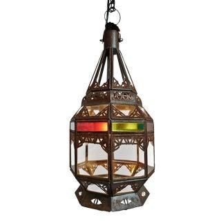 Multi Color Glass Moroccan Lantern For Sale