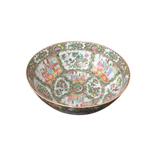 Antique Rose Medallion Chinoiserie Serving Bowl