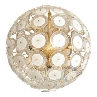 Murano White Glass Disc Sputnik with Brass Frame For Sale