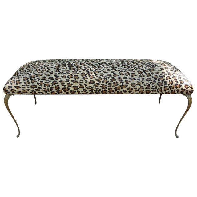 1960's Vintage Italian Gio Ponti Inspired Upholstered Leopard Print Hide Hair Bench For Sale