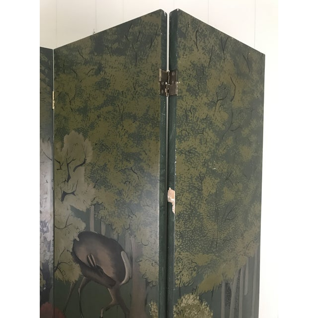 Painted Four Panel Screen With Landscape and Deer For Sale - Image 11 of 13