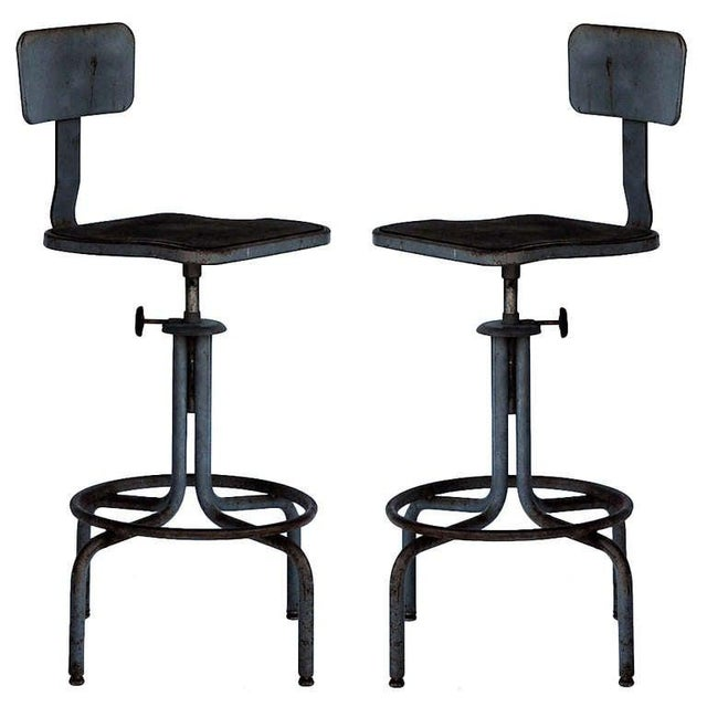 Superb 1940S Vintage Swiveling Workshop Bar Stools A Pair Cjindustries Chair Design For Home Cjindustriesco