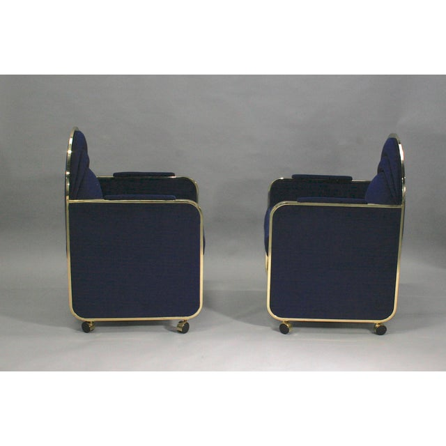 Hollywood Regency Pair Design Institute of America Brass and Blue Velvet Club Chairs For Sale - Image 3 of 6
