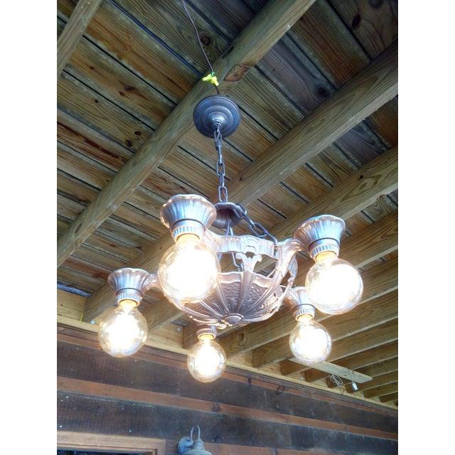 Antique Art Deco Chandelier - Image 5 of 8 - Antique Art Deco Chandelier Chairish