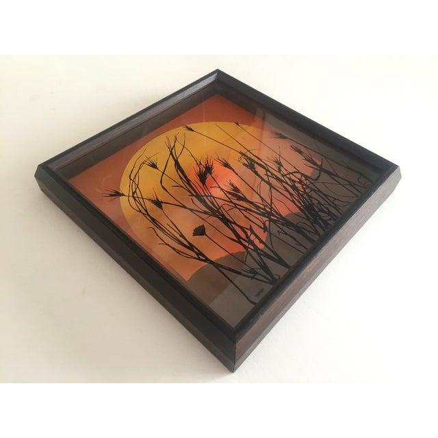 "Various Artists 1974 Vintage Modernist Virgil Thrasher ""Lucid Lines"" Painted Glass 3d Shadow Box Art - 3 Piece Set For Sale - Image 4 of 11"
