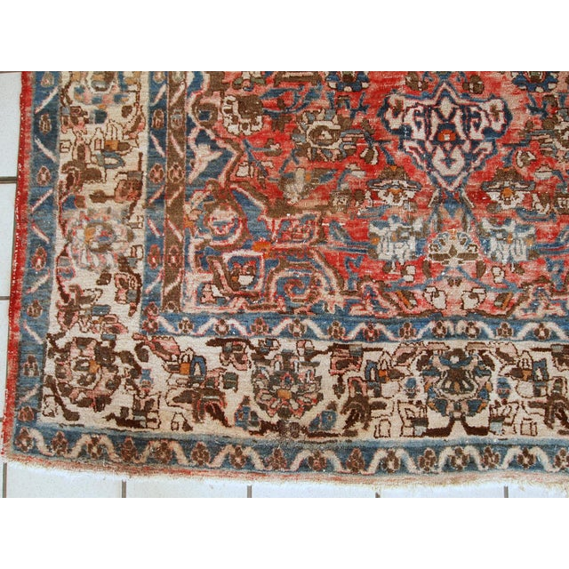 Islamic 1900s, Handmade Antique Persian Mahal Distressed Rug 4.6' X 6.5' For Sale - Image 3 of 10
