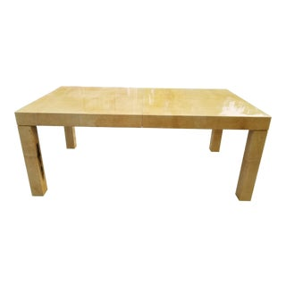 Stunning Karl Springer Style Lacquered Goatskin Dining Table . For Sale