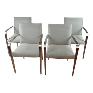 Modern Steel & Wood Dining Armchairs -Set of 4 For Sale