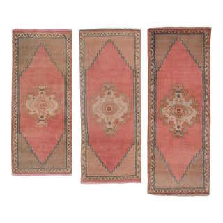 "Traditional Handwoven Turkish Oushak Wool Bath Mats - Three Matching Rug 1'6"" X 3'9"" For Sale"